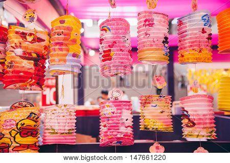 KUALA LUMPUR MALAYSIA - SEPTEMBER 14: Paper lanterns for sale during Mid-Autumn Festival aka Moon Cake Festival celebrations on September 14 2016 in Kuala Lumpur Malaysia.