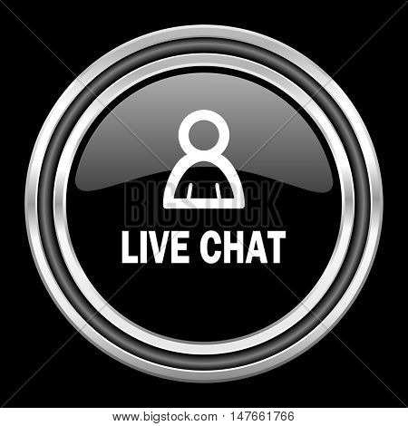live chat silver chrome metallic round web icon on black background