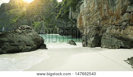 Panorama of Maya Beach on Phi Phi Island in Thailand