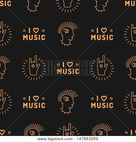 Music seamless pattern thin line art minimal design, Text I love music, punk with a mohawk, Hand Rock N Roll Sign, Hipster style vector illustration. Musical icons on a dark background