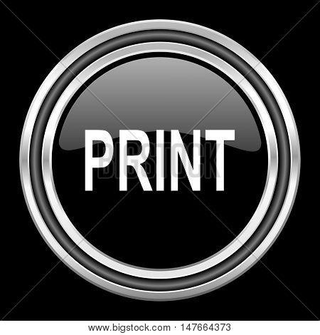 print silver chrome metallic round web icon on black background