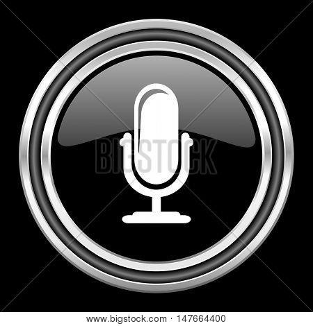 microphone silver chrome metallic round web icon on black background