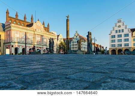 View over the market square Neuer Markt in Rostock Germany.