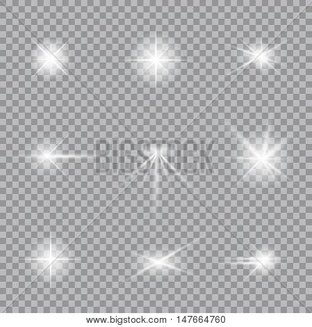 Lighting flare collection. Realistic glowing light stars.