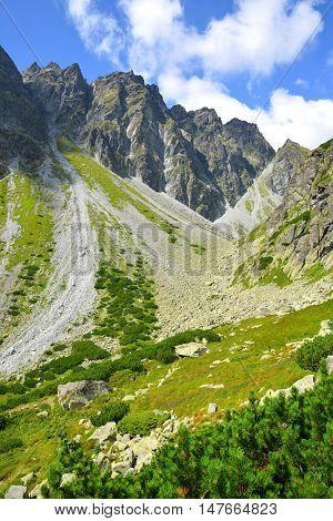 Mountain ridge Bast. Mengusovska Valley in Vysoke Tatry (High Tatras), Slovakia