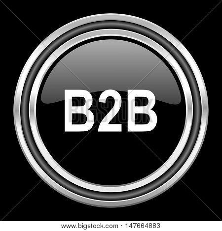 b2b silver chrome metallic round web icon on black background