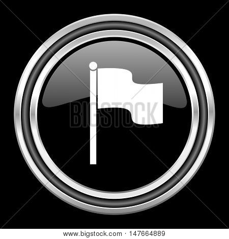 flag silver chrome metallic round web icon on black background