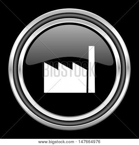 factory silver chrome metallic round web icon on black background
