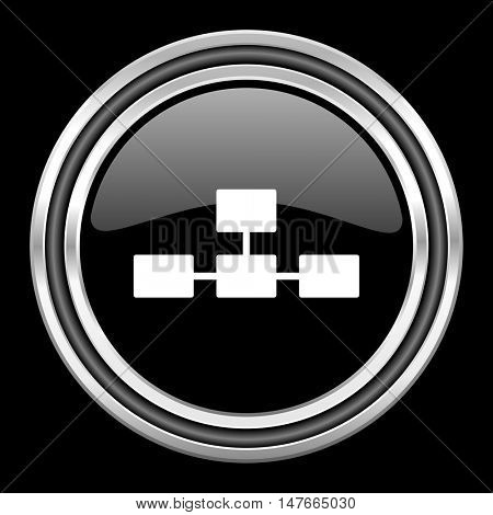 database silver chrome metallic round web icon on black background