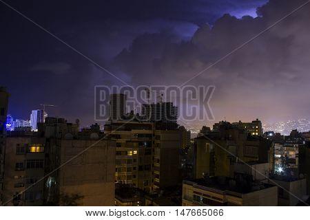 Night view of Beirut, Lebanon. Cloudy evening, city overview of Beirut, Lebanon