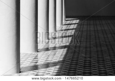 Light and shadow on the floor black and white style