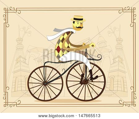 Gentleman cyclist in a flat design. City style fat elegant man riding on a old bicycle.Man with a old bicycle flat cartoon vector illustration. Eps10.