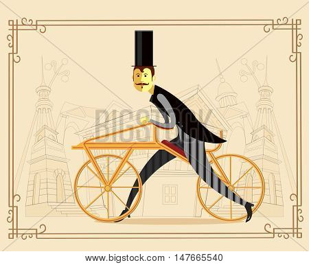 Gentleman cyclist with a hat in a flat style on old city background. Elegant man riding on a old bicycle