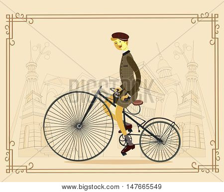 Old-fashioned man on a bicycle. Retro man on a bicycle on paper background flat cartoon vector illustration. Eps10. Retro gentleman with moustaches in tweed costume on a bicycle.Illustration introducing tweed ride poster.