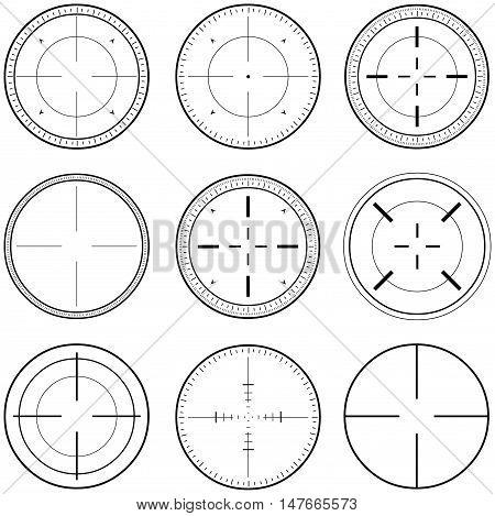 Vector illustration pack of sniper target linearts.