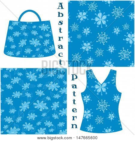 Set Seamless Floral Patterns, Symbolical Flowers Contours and Silhouettes on Blue Background, Elements for Your Design, Prints and Banners, For the Example Presented in a Female Top and a Bag. Vector