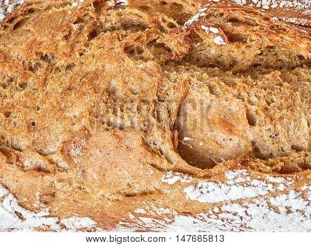 tasty hot black homemade bread closeup crust