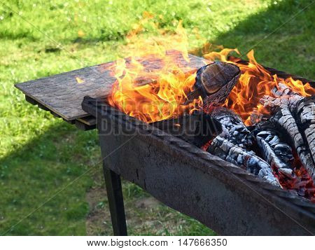 summer barbecues in the country is a fire close-up