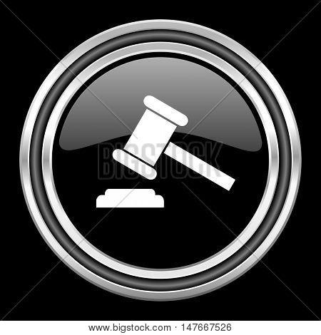 auction silver chrome metallic round web icon on black background