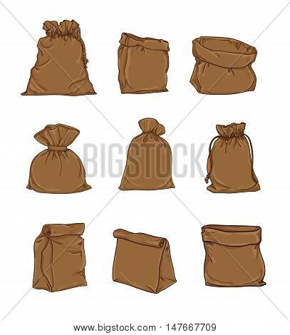 Canvas sack vector. canvas bag. Illustration of a canvas sack.
