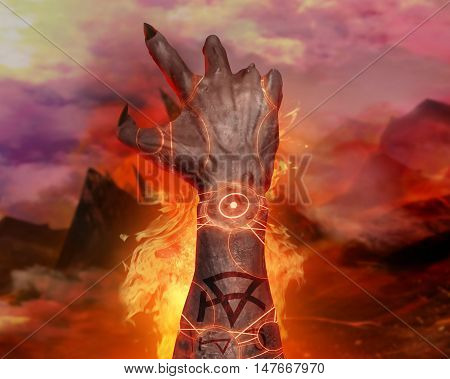 3D illustration of a first person demon hand magic. 3d first person view artwork of a horror demonic hand with pentacle signs casting fire spell on a hellish landscape background.