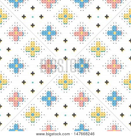 Vector creative seamless pattern, trendy geometric background. Minimal design elements, interpretation of retro style Memphis 80s 90s, Hipster Boho textiles. Abstract poster, cover, card design