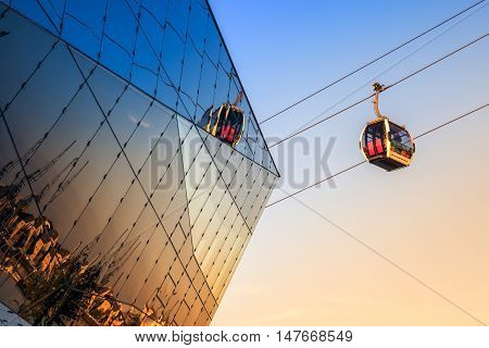 Thames cable car in London at sunset