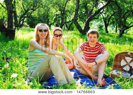 Amigos en picnic en día soleado
