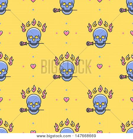 Skull seamless pattern. Colorful skull in a trendy thin line art style on a yellow background. Vector Icons: skull, rose, fire, heart