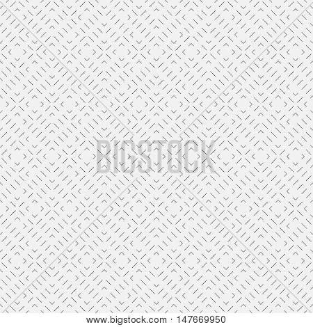 Seamless pattern. Modern stylish linear texture. Regularly repeating geometrical elements shapes thin dashed lines ticks zigzags rhombuses. Abstract geometry