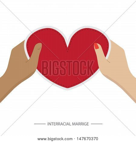 hands holding a silk heart. race relations theme