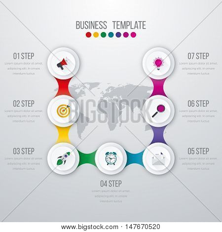 Vector illustration infographics seven options. Stock vector