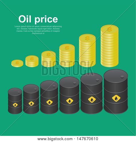 Tanks with oil and coins dollar on increasing. Concept of increase in the income sales enrichments. Isometric vector illustration 3D style.
