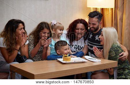 Multi Generation Family Celebrating Daughter's Birthdayhappy family