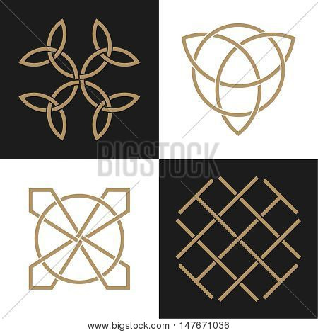A set of the ancient symbols executed in the Celtic style. Secret signs knots and interlacings. Concept of secret and origin of mankind. The mascots and charms executed in the form of logos. Magic signs. Vector illustration.