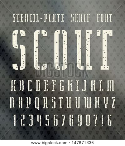 Narrow stencil-plate serif font with speckled texture. Bold face. White print on blurred background
