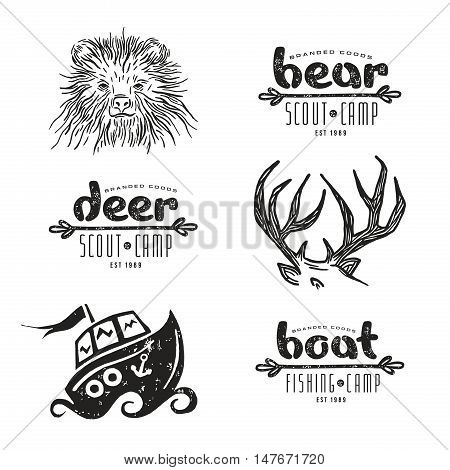 Set of elements in hand-drawn style: bear deer horn boat. Graphic design for t-shirt. Black print on white background