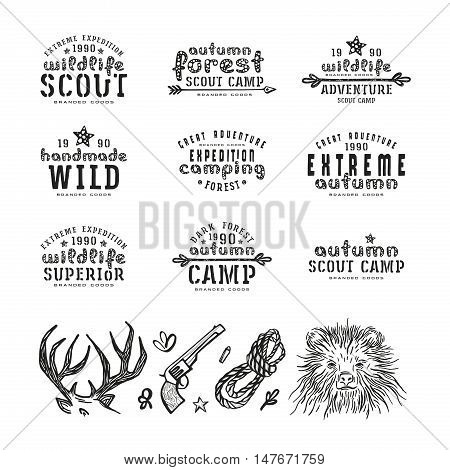 Set of typographic compositions for t-shirt and design elements. Outdoor recreation. Black print on white background