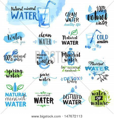 Set of hand drawn watercolor labels and badges of water. Vector illustrations for graphic and web design.