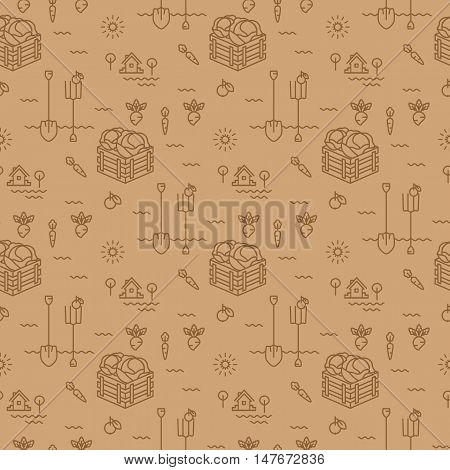 Vegetables garden seamless pattern. Agriculture, cultivation of vegetables background. Minimal design, thin line art icons. The style of wrapping paper, vector illustration