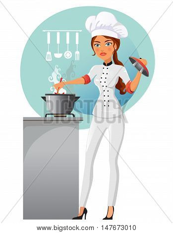 Vector illustration of a woman cooking in the kitchen. Woman cooking chef in white uniform flat cartoon vector illustration. Eps10. Isolated on a white background. Housewife cooking.