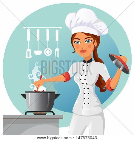 Vector illustration of a woman cooking in the kitchen. Housewife cooking flat cartoon vector illustration. Eps10. Isolated on a white background.