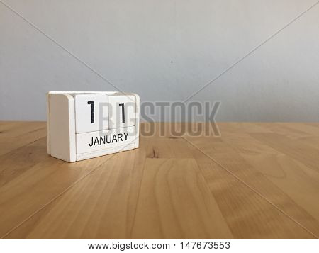 January 11Th.january 11 White Wooden Calendar On Wood Background.copyspace For Text.