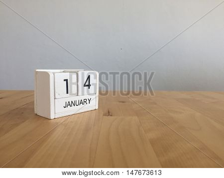 January 14Th.january 14 White Wooden Calendar On Wood Background.copyspace For Text.