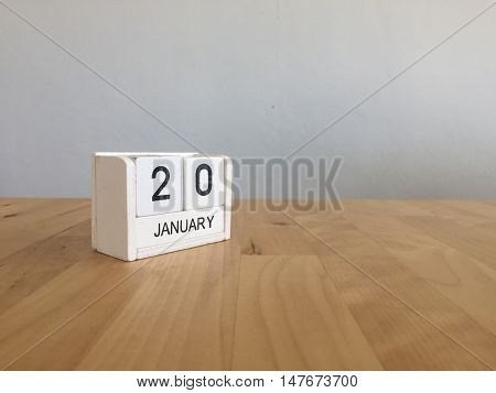 January 20Th.january 20 White Wooden Calendar On Wood Background.copyspace For Text.