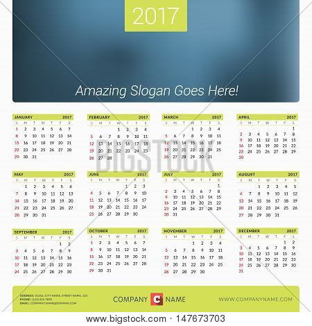 Calendar For 2017 Year. Vector Design Print Template With Place For Photo, Company Logo And Contact