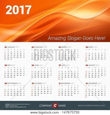 Calendar For 2017 Year. Vector Design Print Template With Abstract Wave Background, Company Logo And
