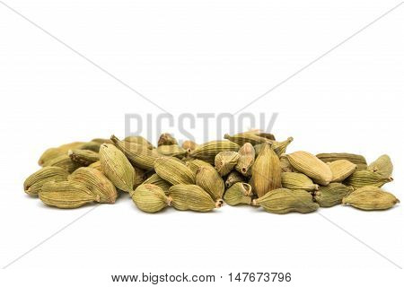 cardamom pods india spice isolated on white