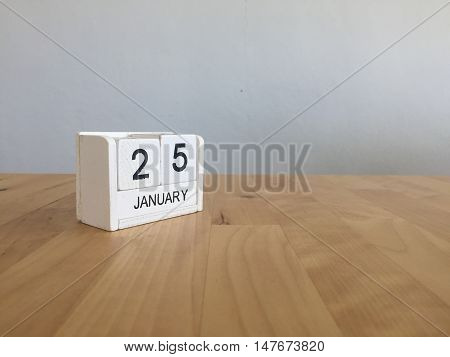 January 25Th.january 25 White Wooden Calendar On Wood Background.copyspace For Text.