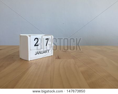 January 27Th.january 27 White Wooden Calendar On Wood Background.copyspace For Text.